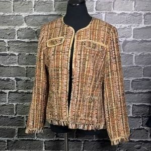 Chico's Neutral Colors Fringed Boucle Jacket Sz 1